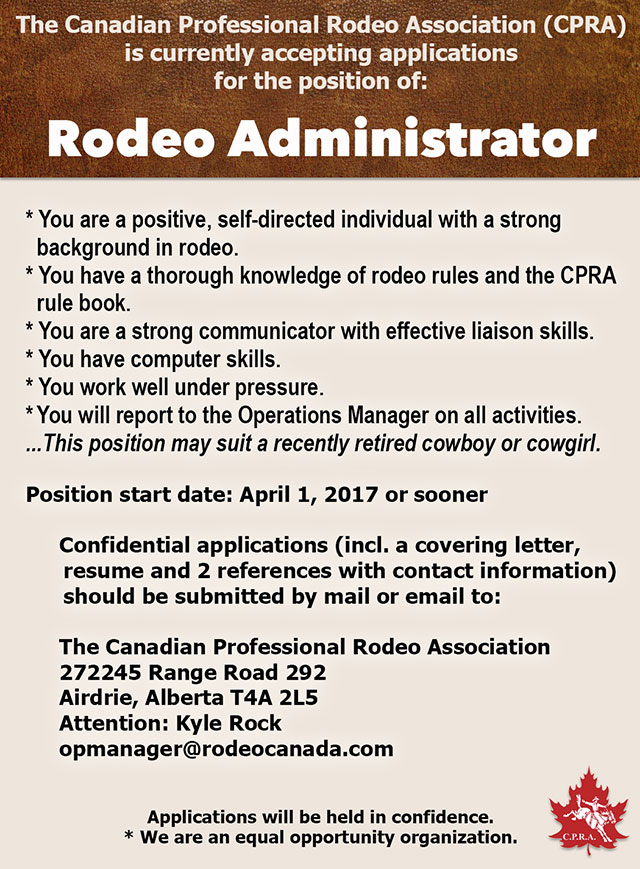 The CPRA seeks a Rodeo Administrator